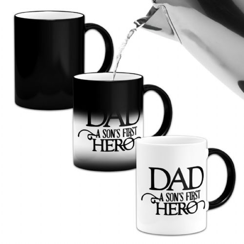 Dad A Sons First Hero ..Novelty Heat Colour Changing Mug